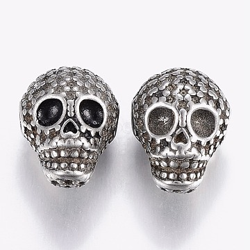 304 Stainless Steel Beads Rhinestone Settings, Skull, Antique Silver, 14x10.5x10mm, Hole: 2mm; Fit for 1~3mm rhinestone(STAS-P195-036AS)