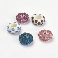 Couleur mélangée rondelle strass résine grand trou perles européennes, 12x6mm, Trou: 5mm(X-OPDL-H022-M)