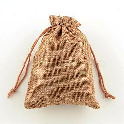 Sacs en polyester imitation toile de jute sacs à cordon, Pérou, 18x13 cm(ABAG-R004-18x13cm-03)