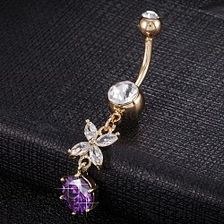 Piercing Jewelry, Environmental Brass Cubic Zirconia Navel Ring, Belly Rings, with Use Stainless Steel Findings, Real 18K Gold Plated, Butterfly, Purple, 45x9mm(AJEW-EE0003-38E)