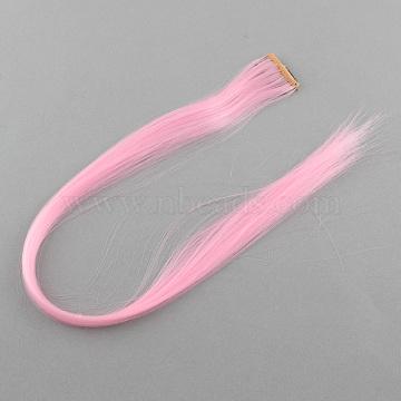 Fashion Women's Hair Accessories, Iron Snap Hair Clips, with Nylon Hair Wigs, Pearl Pink, 47cm(PHAR-R126-18)