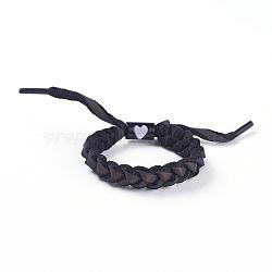 bracelets coulissants tressés en fils de polycoton (polyester coton) réglables, avec les résultats de l'émail en alliage de zinc, noir, 1-3 / 4 3 cm)(BJEW-P252-E10)