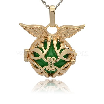 Golden Tone Brass Cage Pendants, Hollow Round with Wing, with No Hole Spray Painted Brass Round Ball Beads, Green, 26x29x20mm, Hole: 3x8mm(KK-J213-15G)