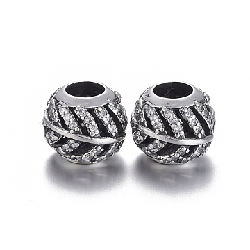 Hollow 925 Sterling Silver European Beads, Large Hole Beads, with Cubic Zirconia, Carved with 925, Rondelle with Leaf, Thai Sterling Silver Plated, 11x9.5mm, Hole: 5mm(OPDL-L017-006TAS)