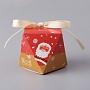 бумажные подарочные коробки, с лентами, день рождения свадьба вечеринка шоколадные конфеты подарочные коробки, Рождественский тематический узор, красный, 5.9x7.85x7.95 mm
