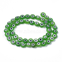 ручной сглаза бусины бисер нитей, плоские круглые, зеленый, 7.5~8x3~4 mm, отверстия: 1 mm; о 48 шт / прядь, 13.7(LAMP-S191-02B-02)