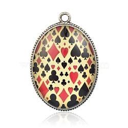 Verre de motif pendentifs ovales, avec plaqué argent antique supports en alliage, colorées, 47.5x33x10mm, Trou: 3mm(PALLOY-J574-03AS)
