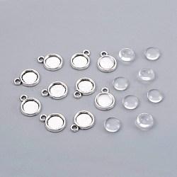 Поделки кулон материалы, сплав подвеска кабошон и стеклянные кабошоны, полукруглый, прозрачные, античное серебро, 7.5~8x3 мм(DIY-X0098-08AS)