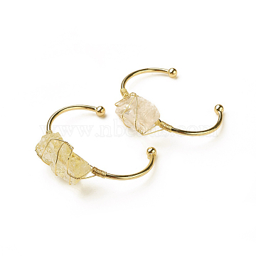 Long-Lasting Plated Brass Cuff Bangles, with Natural Citrine, Nuggets, Golden, 1-3/8 inchesx2-3/8 inches(3.8x6cm), 2.8mm(X-BJEW-F394-A02)