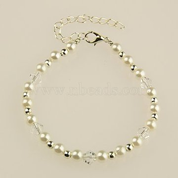 Fashion Acrylic Imitation Pearl Bracelets, with Bicone Glass Beads and Alloy Lobster Claw Clasps, White, 195mm(BJEW-JB01053-01)