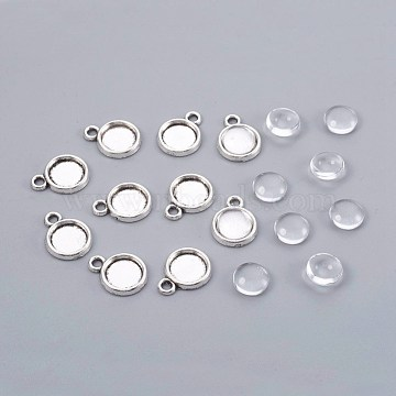 Clear Half Round Alloy+Glass Pendant Making