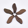 Wood Pendants, SaddleBrown, 23x9.5x2.5~3mm, Hole: 1.8mm