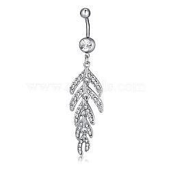 Bijoux piercing, anneau de nombril de zircon cubique en laiton environnemental, anneaux de ventre, avec les accessoires en acier inoxydable, cactus, clair, platine, 73x17mm(AJEW-EE0002-14P)