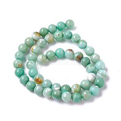 Natural Dyed Agate Imitation Turquoise Beads Strands, Round, MediumSea Green, 10mm, Hole: 1mm, about 36~38pcs/strand, 14.88inches~15.15''(37.8~38.5cm)