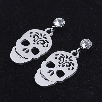 201 Stainless Steel Dangle Stud Earrings, with Clear Cubic Zirconia, Skull, Stainless Steel Color, 24mm, Pin: 0.8mm(EJEW-T008-JN734)