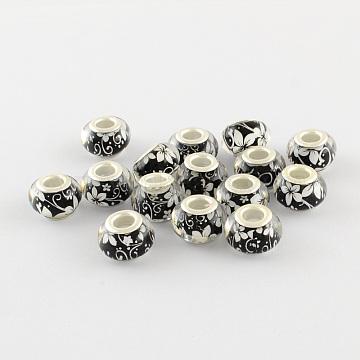 14mm Black Rondelle Acrylic Beads
