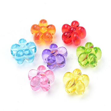 16mm Mixed Color Flower Acrylic Beads