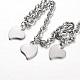 304 Stainless Steel Heart Charm Bracelets(BJEW-L567-02P)-2