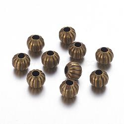 Perles ondulées en fer, sans nickel, bronze antique, rond, 8 mm de diamètre, Trou: 3mm(X-E300Y-NFAB)