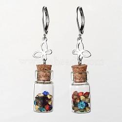 Желание бутылки из нержавеющей стали, с деревянными пробками, бабочки и стеклянный горный хрусталь, нержавеющая сталь цвет, 50 mm, контактный: 1 mm(X-EJEW-JE01744)