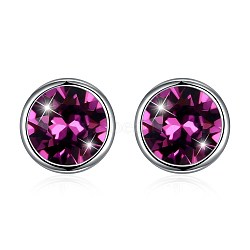 925 Sterling Silver Stud Earrings, with Austrian Crystal, Flat Round, Platinum, 204_Amethyst, 8mm(EJEW-BB30646-3)