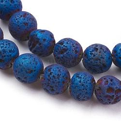 placage sous vide électrolytique brins de perles de lave naturelle, arrondir, bleu plaqué, 8~8.5 mm, trou: 1 mm; environ 48 perle / brin, 15.35 (39 cm)(G-K259-58-8mm-02)