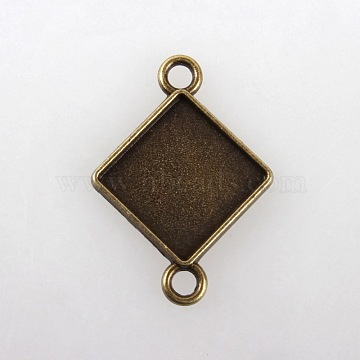 Vintage Tibetan Alloy Rhombus Cabochon Connector Bezel Settings, Cadmium Free & Nickel Free & Lead Free, Antique Bronze, Square Tray Side Length: 15mm, 23x32x2mm, Hole: 3mm(X-TIBE-M016-03AB-NF)