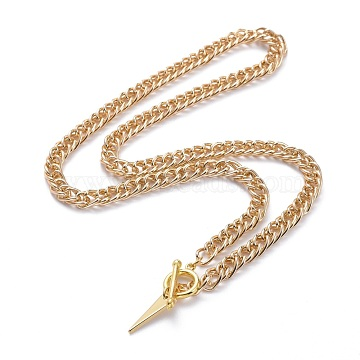 Aluminium Twisted Chain Necklaces, with Brass Toggle Clasps and Triangle Pendants, Golden, 18.3 inches(46.5cm), 6mm(NJEW-JN03159)