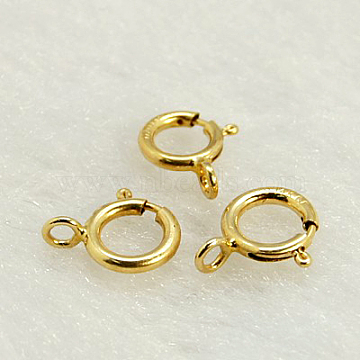 Yellow Gold Filled Spring Ring Clasps, 1/20 14K Gold Filled, Cadmium Free & Nickel Free & Lead Free, 6mm, Hole: 1mm(X-KK-G163-6mm-1)