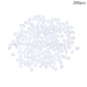 Plastic Ear Nuts, Earring Backs, Clear, 4x4mm, Hole: 0.5mm, 200pcs/box(KY-CJ0001-01)