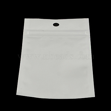 Pearl Film Plastic Zip Lock Bags, Resealable Packaging Bags, with Hang Hole, Top Seal, Self Seal Bag, Rectangle, White, 13x8cm; inner measure: 9.5x7cm(OPP-R003-8x13)