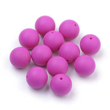 Food Grade Environmental Silicone Beads, Chewing Beads For Teethers, DIY Nursing Necklaces Making, Round, Camellia, 12mm, Hole: 2mm(X-SIL-R008B-05)