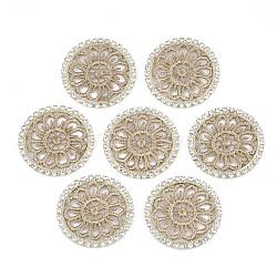 подвеска из полиэстера, горный хрусталь и латунные выводы, плоские круглые, светлое золото, Перу, 32x2 mm(FIND-T044-11C)