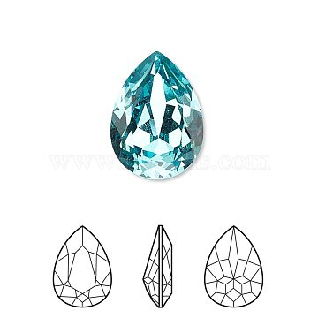 Austrian Crystal Rhinestone, 4320, Crystal Passions, Foil Back,  Faceted Pear Fancy Stone, 263_Light Turquoise, 8x6x3mm(X-4320-8x6mm-263(F))