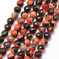 Natural Fire Agate Bead Strands, Round, Grade A, Faceted, Dyed & Heated, LightSalmon, 8mm, Hole: 1mm; about 47pcs/strand, 15inches