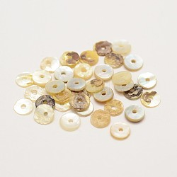 Flat Round Natural Akoya Shell Beads, Mother of Pearl Shell Beads, Tan, 5~6x1mm, Hole: 1mm; about 1440pcs/bag(SHEL-N034-11)