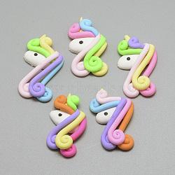 main en pate polymère cabochons, licorne, couleur mélangée, 42~43x25x9~10 mm(X-CLAY-Q240-001)