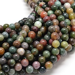 Natural Indian Agate Round Bead Strands, 6mm, Hole: 1mm; about 62pcs/strand, 15.5inches