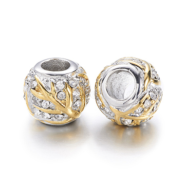 304 Stainless Steel Rhinestone European Beads, Rondelle, Large Hole Beads, Golden & Stainless Steel Color, 12x10mm, Hole: 4.5mm(STAS-F057-104G)