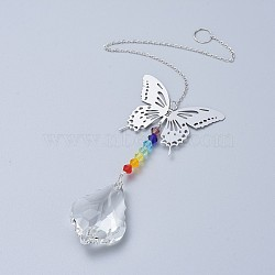 Crystals Chandelier Suncatchers Prisms Chakra Hanging Pendant, with Iron Cable Chains, Glass Beads and Brass Pendants, Butterfly with Teardrop, Clear, 335mm(AJEW-I040-03P)