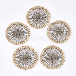 тканые подвески из полиэфирной нити, сплава с выводами, плоские круглые, золотой, верблюд, 38x4 mm(FIND-S306-08D)