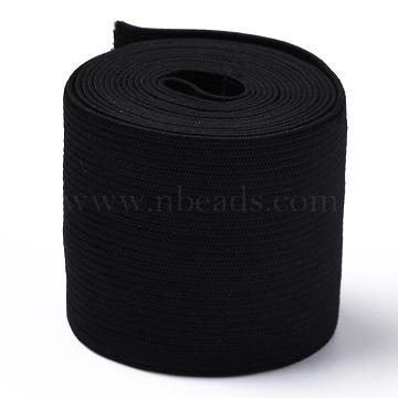 Flat Elastic Rubber Cord/Band, for Webbing Garment Sewing Accessories, Black, 50mm(EC-XCP0001-13)