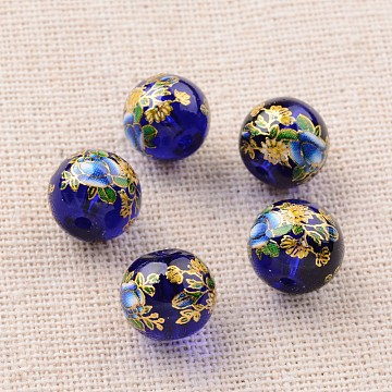 Flower Picture Printed Glass Round Beads, DarkBlue, 10mm, Hole: 1mm(GLAA-J087-10mm-A07)