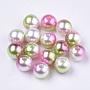 Rainbow ABS Plastic Imitation Pearl Beads, Gradient Mermaid Pearl Beads, Round, Dark Sea Green, 7.5~8x7~7.5mm, Hole: 1.6mm