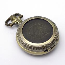 Zinc ronde alliage quartz têtes de montres anciennes plates brossées, pour création de montre de poche collier pendentif , bronze antique, plateau: 25 mm; 48x36x14 mm(WACH-R008-13)