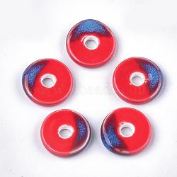 Handmade Porcelain Beads, Fancy Antique Glazed Porcelain, Flat Round/Disc, Red, 21~22x6mm, Hole: 5mm(X-PORC-S498-54F)
