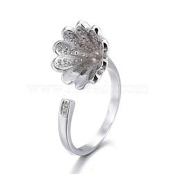 Composants de bague de manchette en 925 argent sterling, pour la moitié de perles percées, avec zircons, fleur, platine, taille 7, 17 mm; plateau: 10 mm; broches: 0.8 mm(STER-F048-02P)