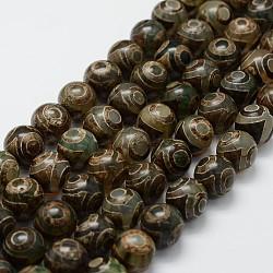 """Chapelets de perles de style tibétain, Perles d'agate naturelles, teints et chauffée, rond, darkolivegreen, 11.5~12mm, trou: 2mm; environ 30 pcs/chapelet, 14.2"""" (360 mm)(TDZI-G010-K06)"""
