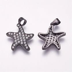 Pendentifs avec zircon cubiques à micro-pavés en laiton, étoiles de mer, gunmetal, 19x17.5x3mm, Trou: 3x5mm(ZIRC-F054-36B)
