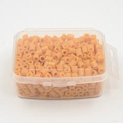 1 boîte 5 mm perles fondantes pe bricolage en perles à repasser recharges perler perles pour les enfants, Tube, marron, 5x5mm, trou: 3 mm; environ 500 / boîte(DIY-X0047-78-B)